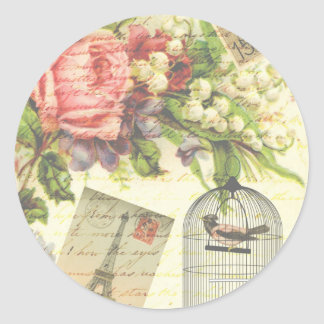 Vintage Roses and Caged Bird Classic Round Sticker