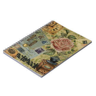 Vintage Roses And Clocks Pattern Notebook