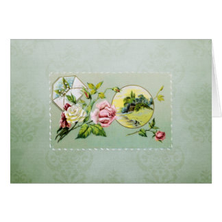 Vintage Roses and Damask Note Card