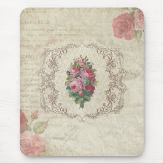 Vintage Roses and Engraving Mouse Pad