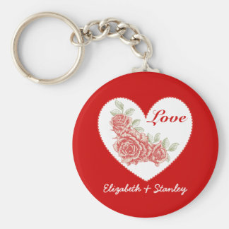 Vintage roses and heart Valentine's Love keychain