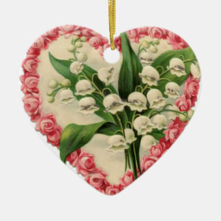 Vintage Roses and Lily of the Valley Ornament