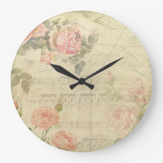 Vintage Roses and Music Wall Clock