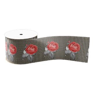 Vintage Roses and pied-de-poule pattern Grosgrain Ribbon