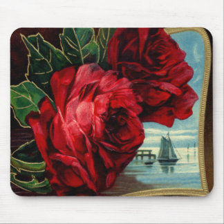 Vintage Roses and Sail Boat Mouse Pad