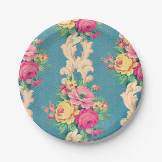 Vintage roses and scrolls fabric paper plates