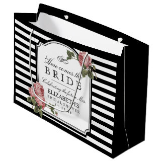 Vintage Roses  and Stripes Bridal Shower Large Gift Bag