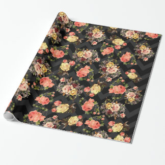 Vintage Roses Black Chevron Pattern Floral Wrapping Paper