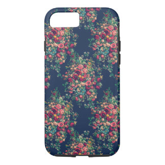 Vintage Roses Classic Blue Color Damask Floral iPhone 8/7 Case