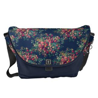 Vintage Roses Classic Blue Color Damask Floral Messenger Bag