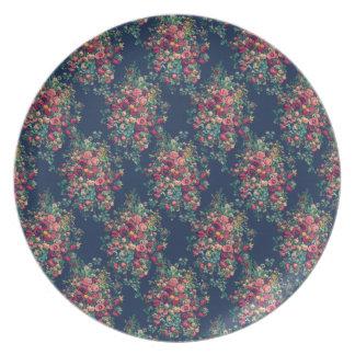 Vintage Roses Classic Blue Color Damask Floral Plates