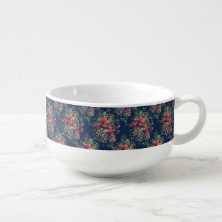 Vintage Roses Classic Blue Color Damask Floral Soup Mug