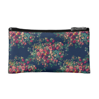 Vintage Roses Classic Blue Color Rich Damask Cosmetic Bag