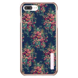 Vintage Roses Classic Blue Color Rich Damask Incipio DualPro Shine iPhone 7 Plus Case