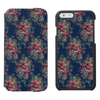 Vintage Roses Classic Blue Color Rich Damask Incipio Watson™ iPhone 6 Wallet Case
