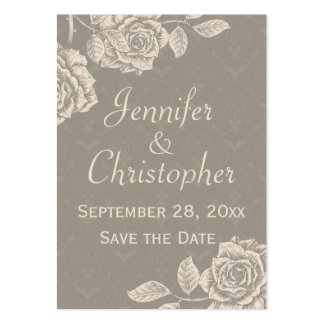 Vintage Roses Cream on Dusty Gray Save the Date Business Card Templates