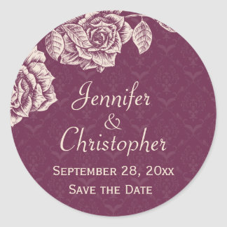 Vintage Roses Cream on Magenta Save the Date Classic Round Sticker