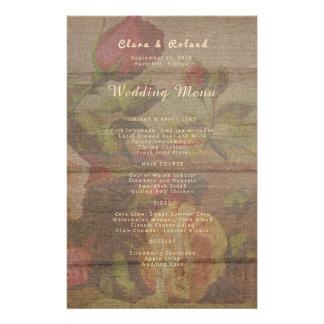 Vintage Roses Custom Wedding Menu Template