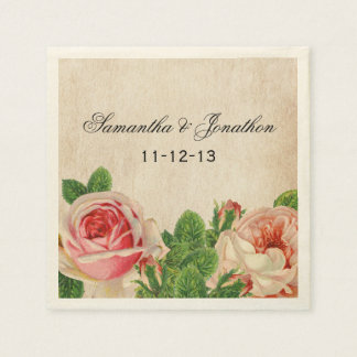 Vintage Roses Floral Custom Wedding Napkins