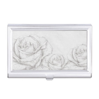 Vintage Roses Floral Grey Decorative Business Card Holder