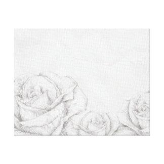 Vintage Roses Floral Grey Decorative Canvas Print