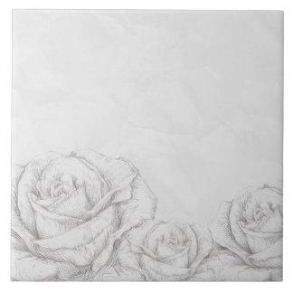 Vintage Roses Floral Grey Decorative Ceramic Tiles