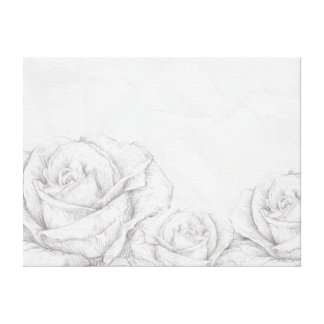 Vintage Roses Floral Grey Decorative Gallery Wrapped Canvas