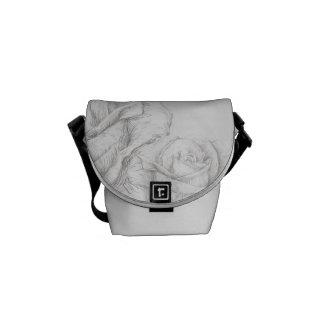 Vintage Roses Floral Grey Decorative Messenger Bags