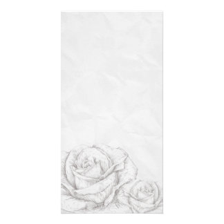 Vintage Roses Floral Grey Decorative Personalized Photo Card
