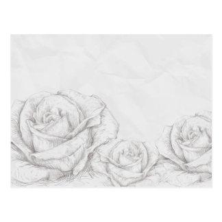 Vintage Roses Floral Grey Decorative Postcard