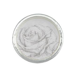 Vintage Roses Floral Grey Decorative Rings