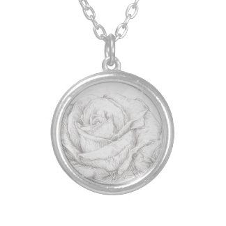 Vintage Roses Floral Grey Decorative Silver Plated Necklace