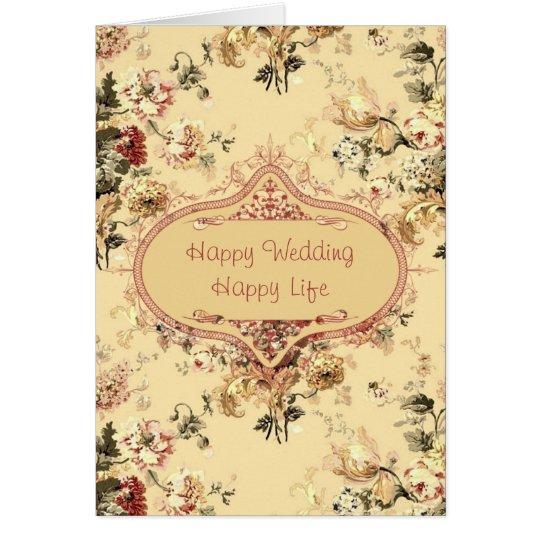 Vintage Roses Floral Wedding Congrats Card