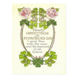 Vintage Roses Four Leaf Clovers St Patrick's Day C Postcard