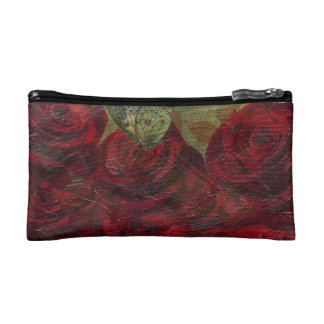 Vintage Roses Green Oil Painting Cosmetics Bags