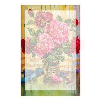 Vintage Roses In A Vase Stationery