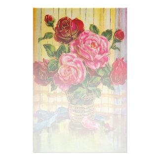 Vintage Roses In A Vase Stationery Paper