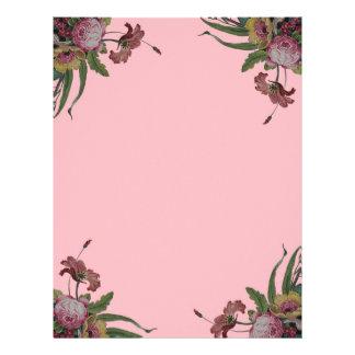 Vintage Roses in Pink Background Letterhead