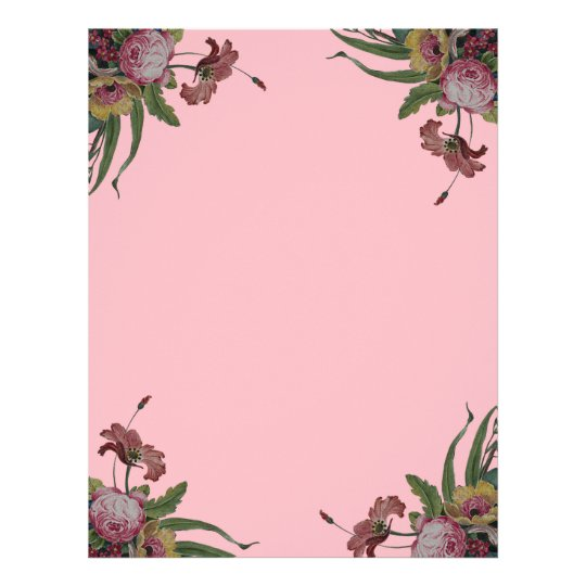 Vintage Roses in Pink Background Letterhead