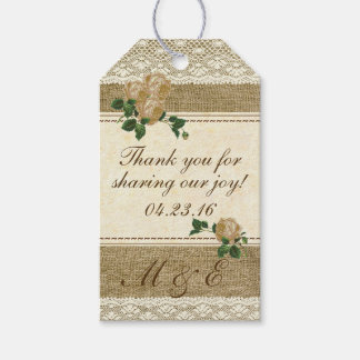 Vintage Roses Lace and Burlap Wedding Favor Pack Of Gift Tags