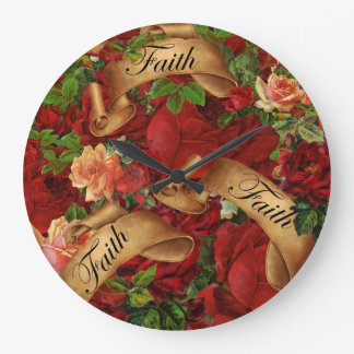 Vintage Roses of Faith Large Clock