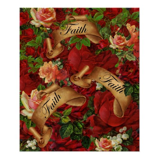 Vintage Roses of Faith Poster