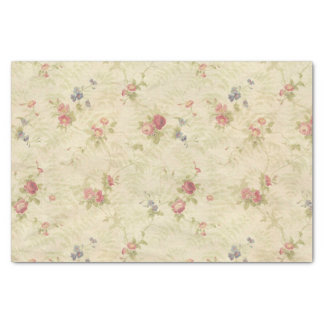 "Vintage Roses old distressed fabric pattern 10"" X 15"" Tissue Paper"