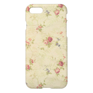 Vintage Roses old distressed fabric pattern iPhone 7 Case