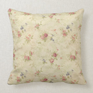 Vintage Roses old distressed fabric pattern Throw Pillow