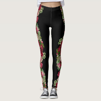 Vintage Roses on Black Goth Leggings