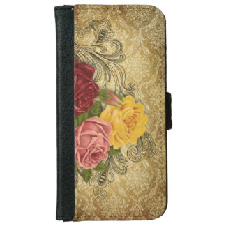 Vintage Roses on Gold Damask iPhone 6 Wallet Case