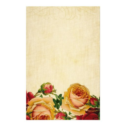 Vintage Roses on Parchment Personalized Stationery