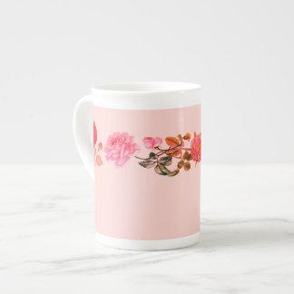 Vintage Roses on Pink Bone China Mug
