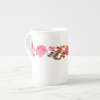 Vintage Roses on White Bone China Mug